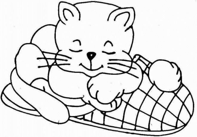 Coloriage et dessins gratuits Chat en dormant à imprimer