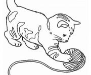 Coloriage et dessins gratuit Chat en jouant à imprimer