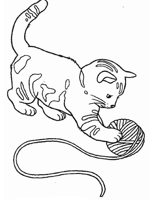 Coloriage et dessins gratuits Chat en jouant à imprimer