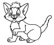 Coloriage et dessins gratuit Chat en souriant à imprimer
