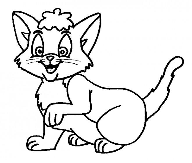 Coloriage et dessins gratuits Chat en souriant à imprimer