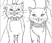 Coloriage Chat et chatte en amour