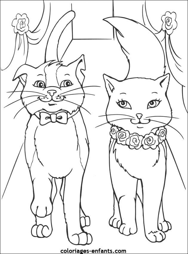 Coloriage et dessins gratuits Chat et chatte en amour à imprimer