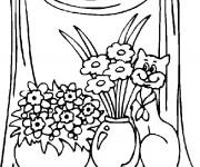 Coloriage Chat et fleurs
