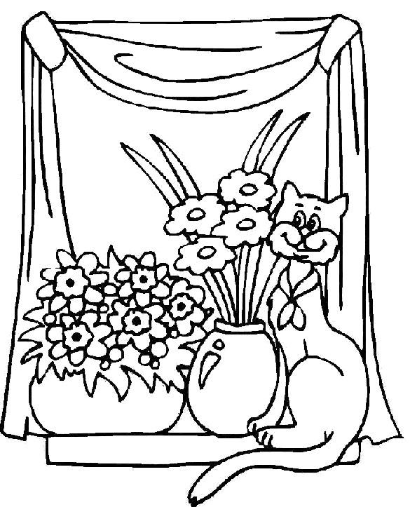 Coloriage et dessins gratuits Chat et fleurs à imprimer