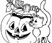 Coloriage Chat et Halloween