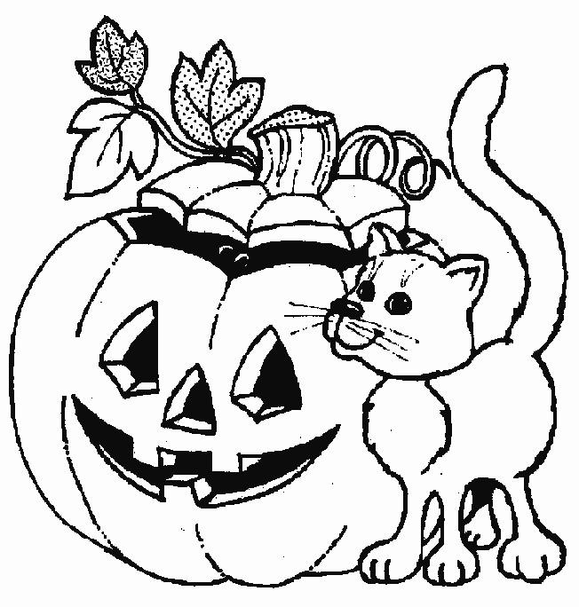 Coloriage et dessins gratuits Chat et Halloween à imprimer
