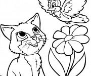Coloriage Chat et l'oiseau