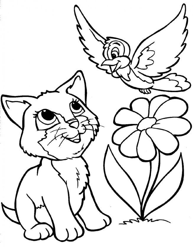 Coloriage et dessins gratuits Chat et l'oiseau à imprimer