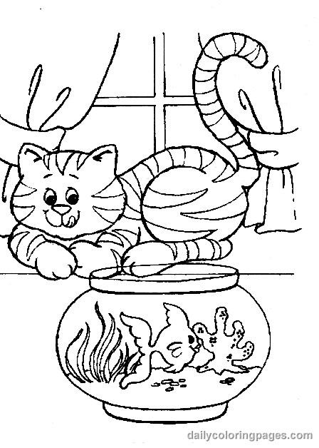 Coloriage chat et poisson en bocal dessin gratuit imprimer - Coloriage en ligne chat ...