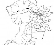 Coloriage Chat et pot de fleur