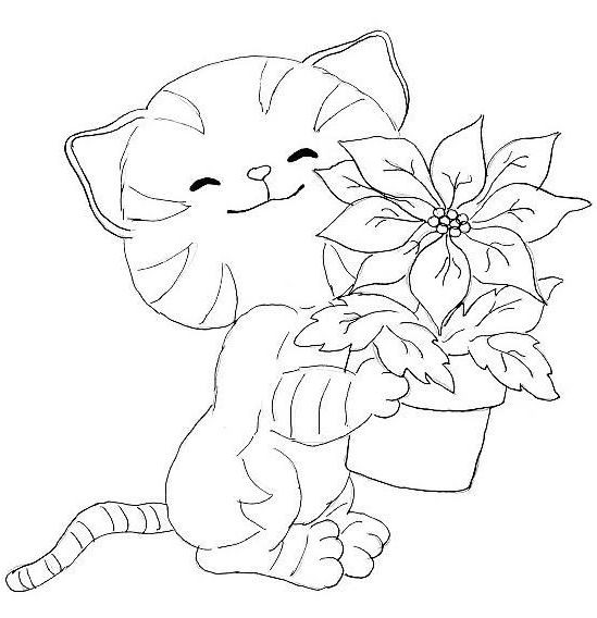 Coloriage Fleur Pot.Coloriage Chat Et Pot De Fleur Dessin Gratuit A Imprimer