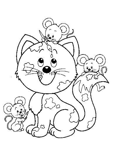 Coloriage et dessins gratuits Chat et ses amis les souris à imprimer
