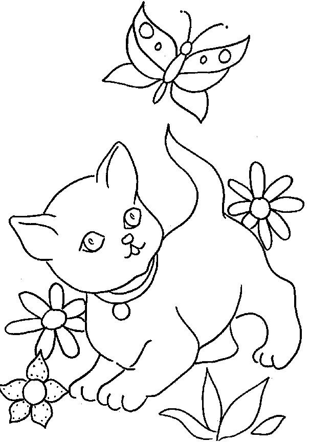 Coloriage et dessins gratuits Chat et une papillon à imprimer