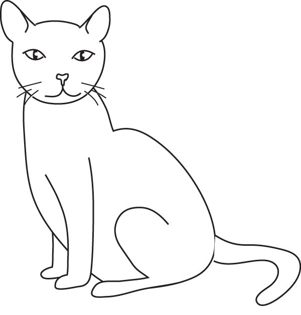 Coloriage chat facile dessin gratuit imprimer - Dessins de chat ...