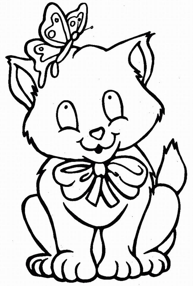 Coloriage et dessins gratuits Chat portant une noeud à imprimer