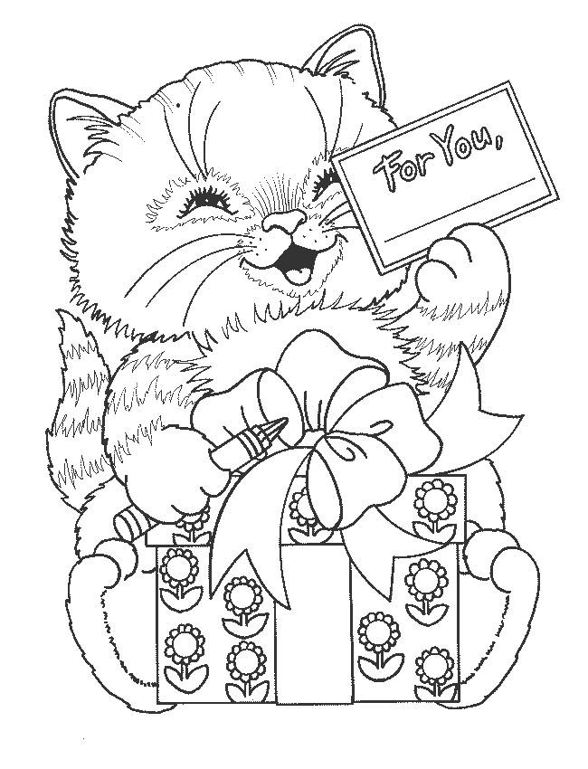Coloriage chat porte un cadeau dessin gratuit imprimer - Dessins de chat ...