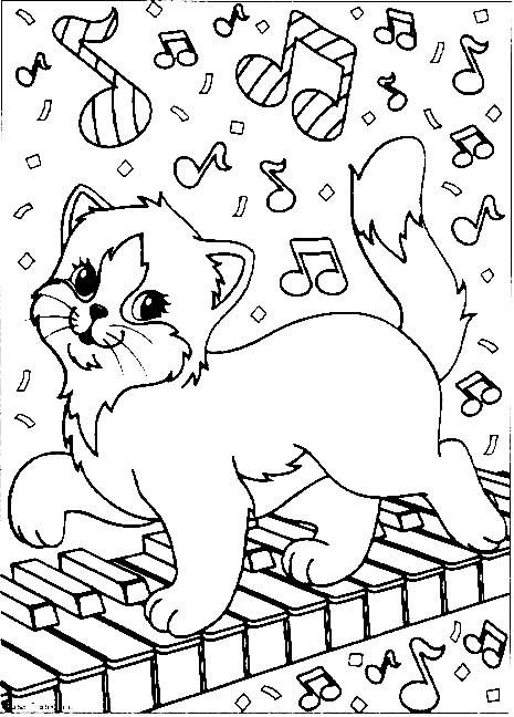 Coloriage et dessins gratuits Chat sur le piano à imprimer