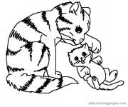 Coloriage et dessins gratuit Chat tigré et son bébé à imprimer