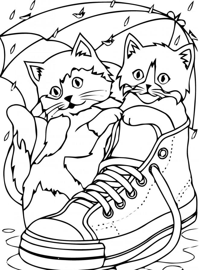 Coloriage chatons dans une chaussure dessin gratuit imprimer - Chat facile et gratuit ...