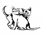 Coloriage Chatons en noir et blanc