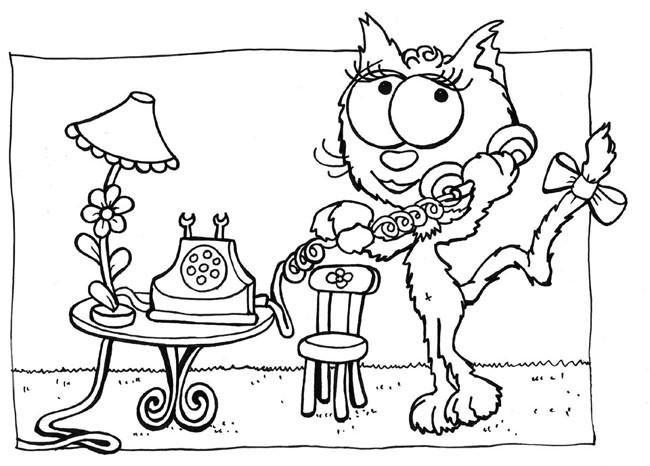 Coloriage et dessins gratuits Chatte parle au téléphone à imprimer