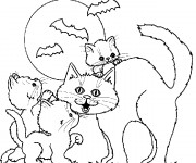 Coloriage Dessin Halloween et Chatons