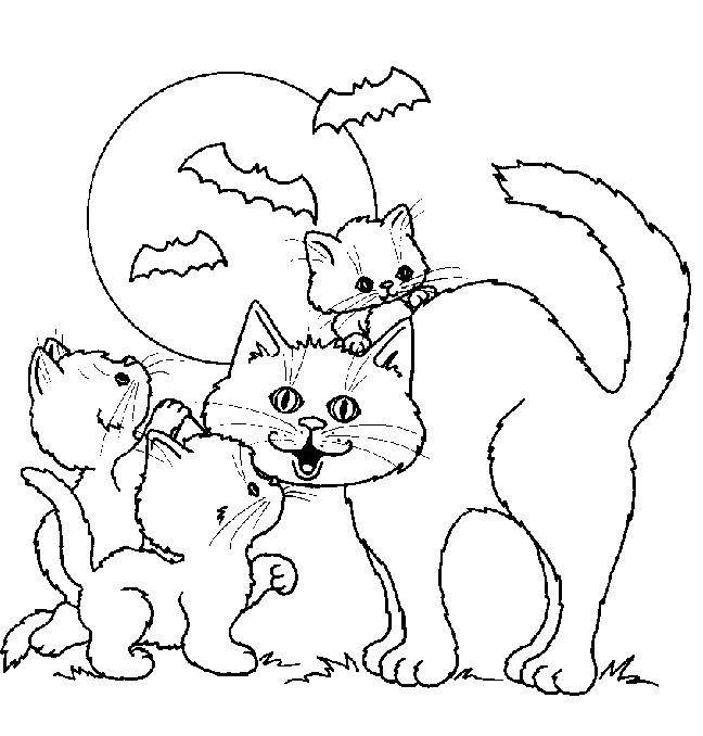 Coloriage et dessins gratuits Dessin Halloween et Chatons à imprimer