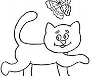 Coloriage Le papillon avec le chat