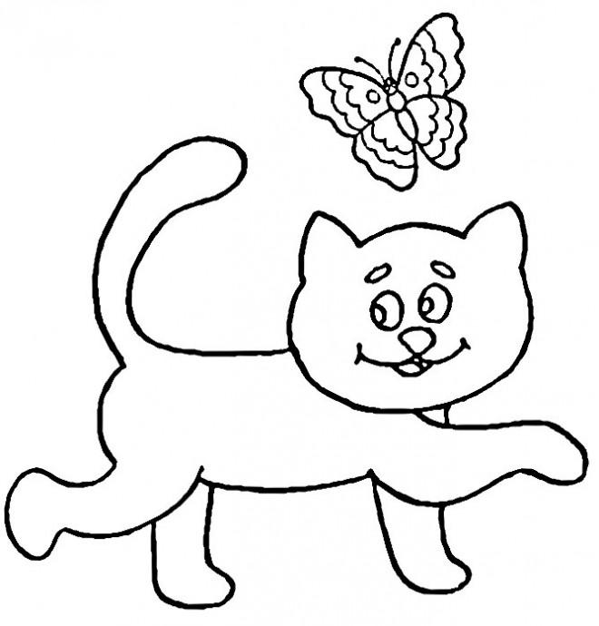 Coloriage et dessins gratuits Le papillon avec le chat à imprimer
