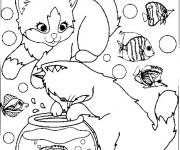 Coloriage Les chats adorent les poissons