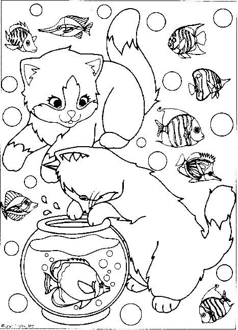 Coloriage et dessins gratuits Les chats adorent les poissons à imprimer
