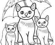 Coloriage Les chats sous la parapluie