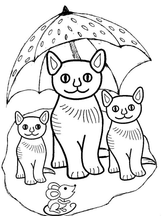 Coloriage les chats sous la parapluie dessin gratuit imprimer - Coloriage de chat en ligne ...