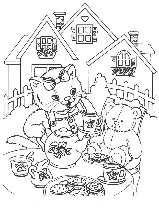 Coloriage une chatte et sa peluche dans le jardin - Dessiner une chatte ...