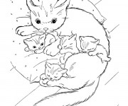 Coloriage Une chatte soigne ses chatons
