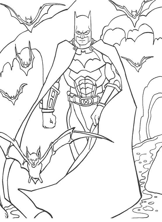 Coloriage et dessins gratuits Batman et ses chauves-souris à imprimer
