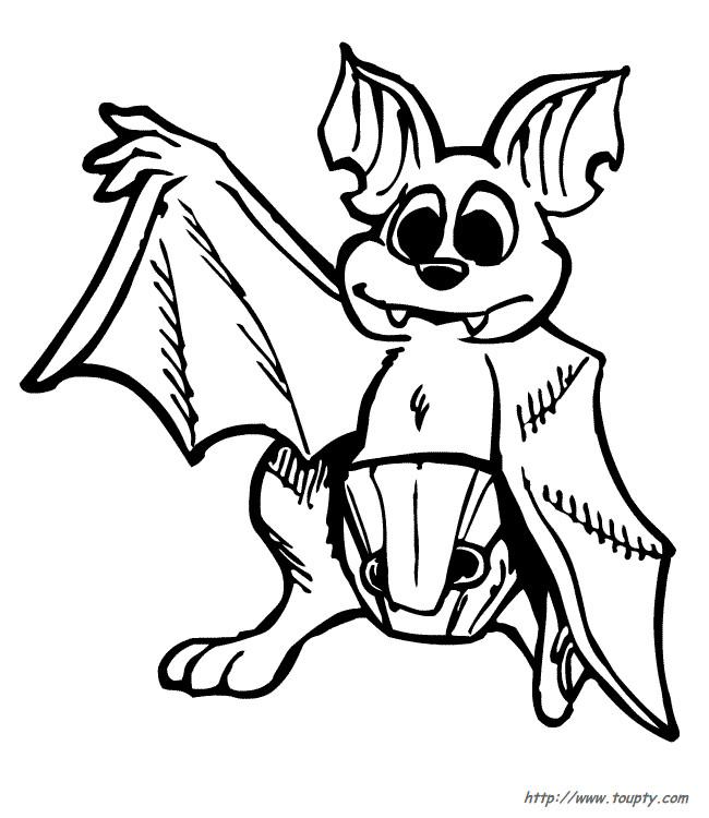Coloriage et dessins gratuits Chauve-souris avec aile ouvert à imprimer