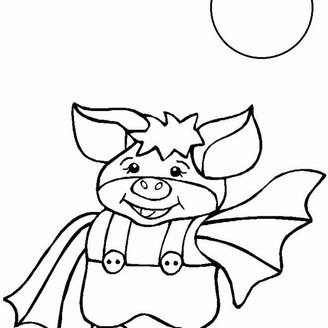 Coloriage et dessins gratuits Chauve-souris cochon à imprimer