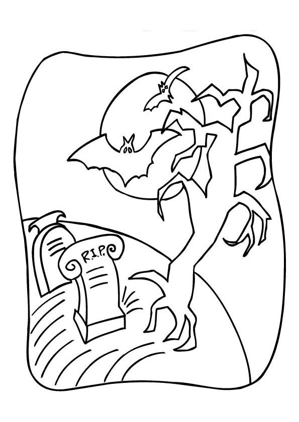 Coloriage et dessins gratuits Chauve-souris dans le cimetière à imprimer
