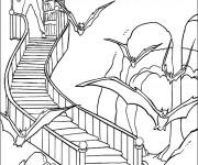 Coloriage Chauve-souris devalt la maison