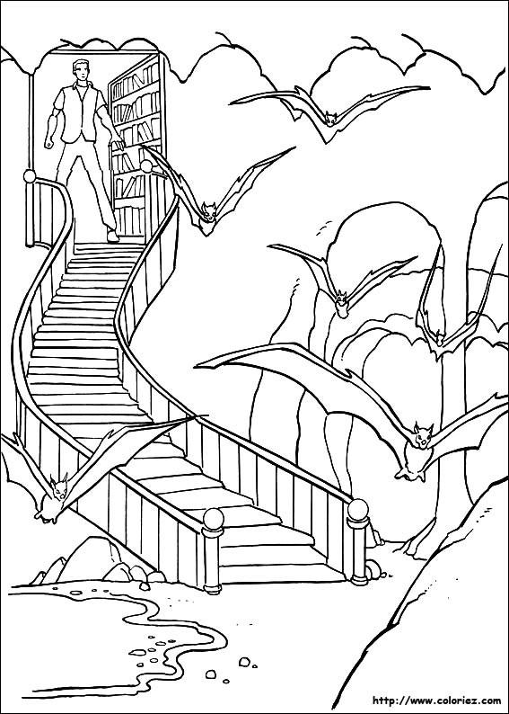 Coloriage et dessins gratuits Chauve-souris devalt la maison à imprimer