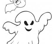 Coloriage Chauve-souris et fantôme