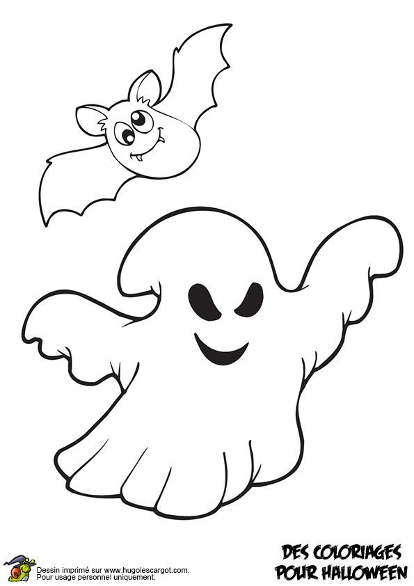Coloriage et dessins gratuits Chauve-souris et fantôme à imprimer