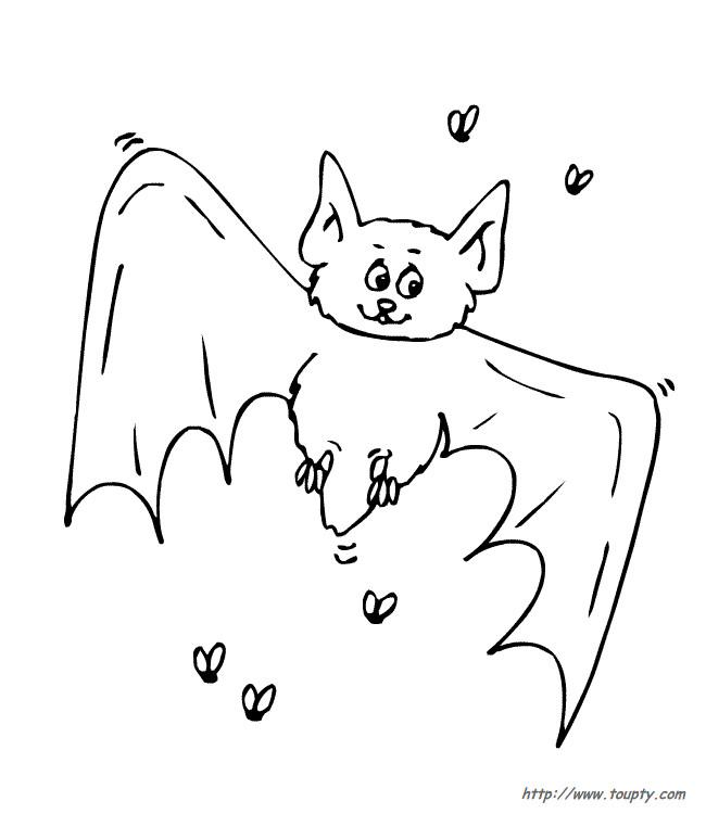 Coloriage et dessins gratuits Chauve-souris et les mouches à imprimer