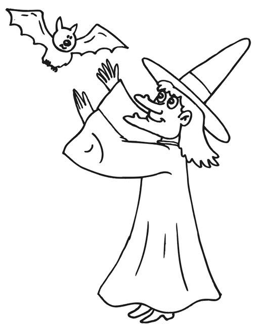 Coloriage et dessins gratuits Chauve-souris et sorcière à imprimer
