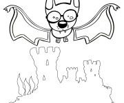 Coloriage Chauve-souris portant des lunettes