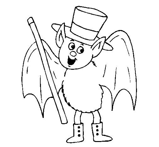 Coloriage et dessins gratuits Chauve-souris porte un chapeau à imprimer