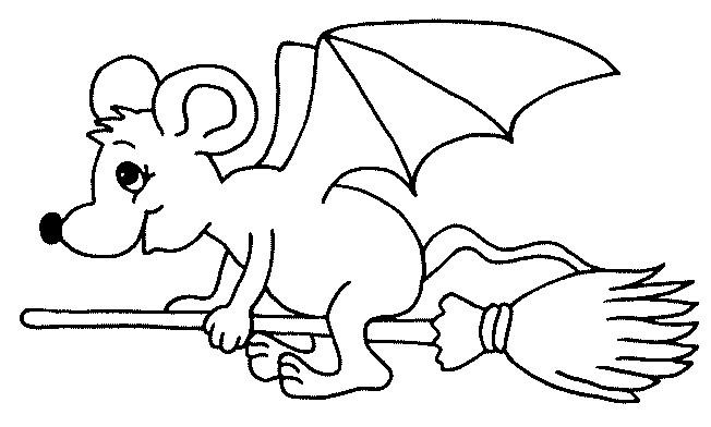 Coloriage et dessins gratuits Chauve-souris sur balaie à imprimer