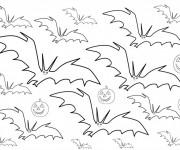 Coloriage Chauves-souris et citrouille d'Halloween
